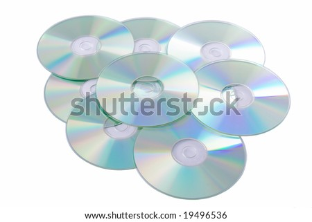 Silver Compact Discs isolated on a white background - stock photo