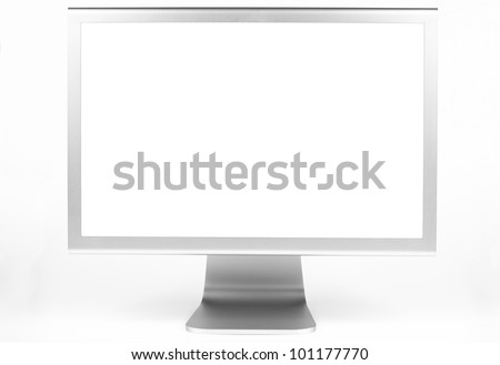 Silver computer monitor front view with white screen isolated on white - stock photo