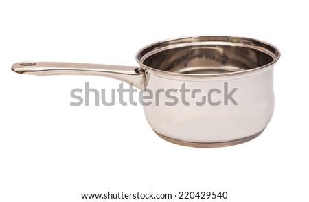 silver cooking pot isolated on white background  - stock photo
