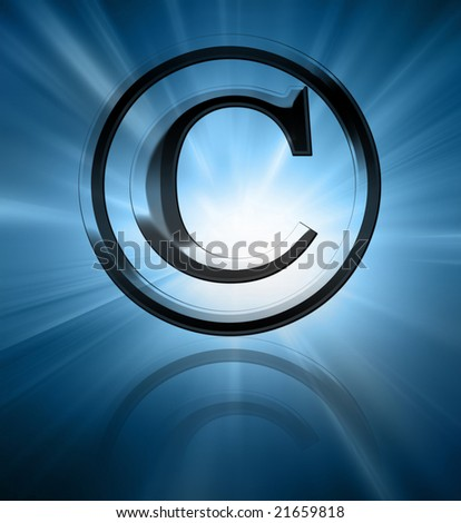Silver copyright symbol on a blue background