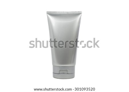 Silver cosmetic tube with transparent cap isolated and clipping path on white background