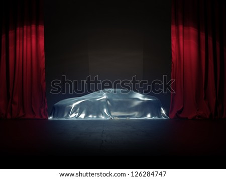 silver covered, New car presentation on show stage