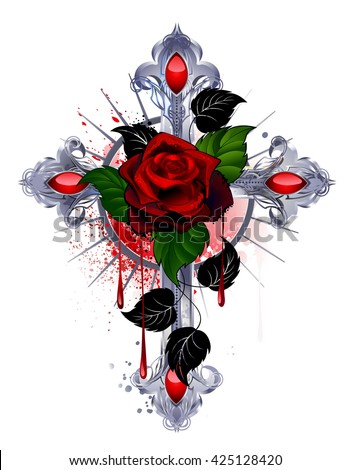 silver cross with a red rose and black leaves on a white background. Design with roses. Tattoo style. Gothic style.  Tribal graphics. Style sketch. Red rose. Religious symbol - stock photo