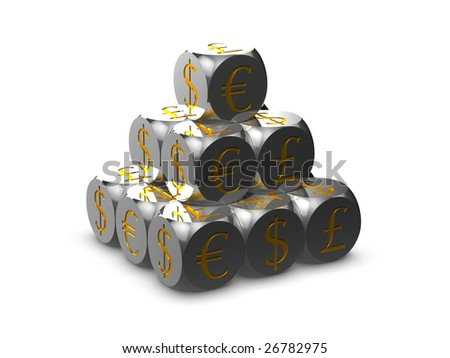 Silver cubes with currency symbols - stock photo
