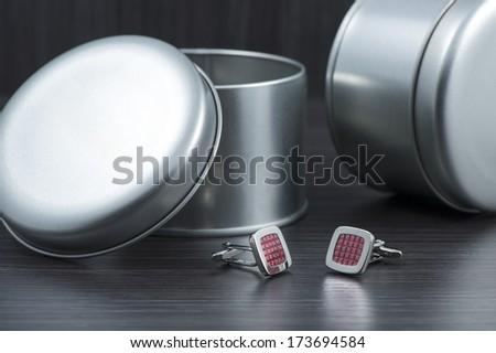 Silver cuff links - stock photo