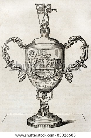 Silver cup old illustration. Boxing prize in 1811 (Crig versus Molineaux). By unidentified author, published on Magasin Pittoresque, Paris, 1840 - stock photo