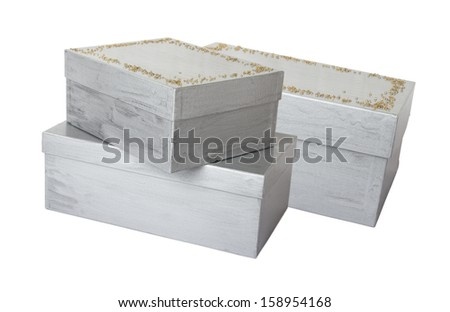 silver decorated boxes isolated on white
