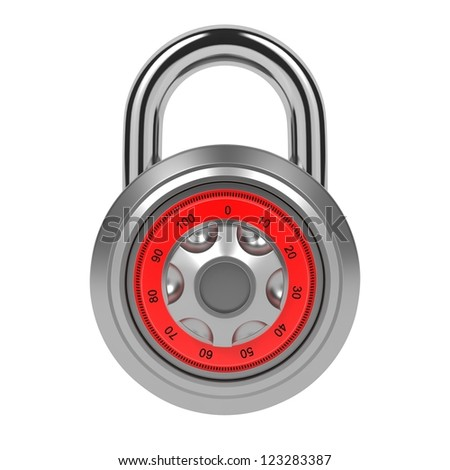 Silver Dial Padlock with Code Isolated over White.