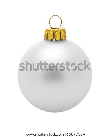 Silver dull christmas ball on white background - stock photo