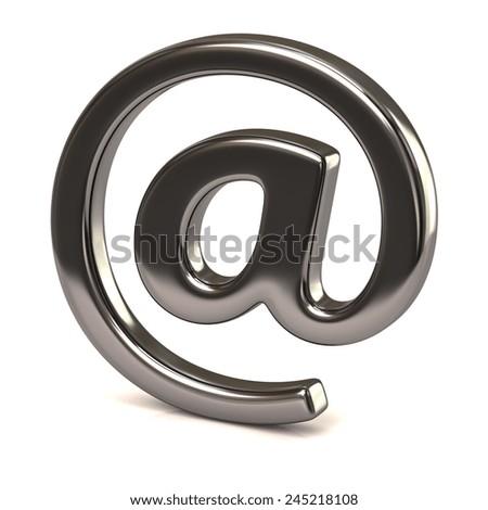 Silver e-mail symbol - stock photo
