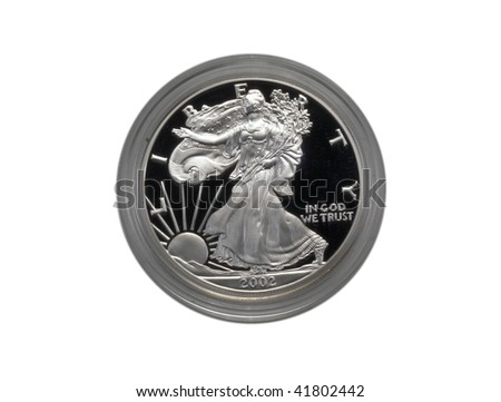 Silver Eagle proof coin, isolated