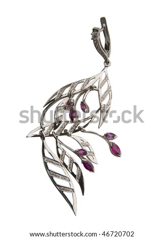 silver earring - stock photo