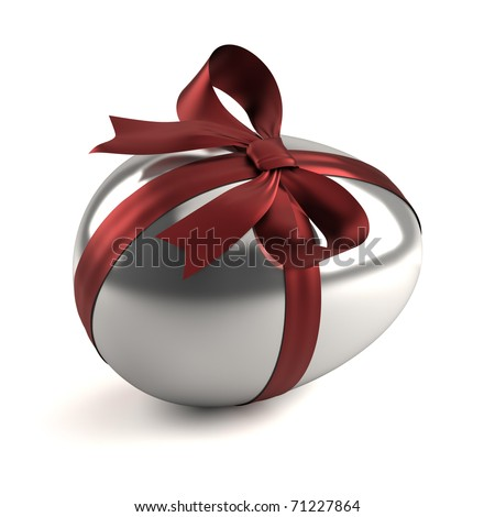 silver easter egg with red ribbon