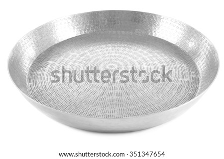 Silver empty tray, isolated on white - stock photo