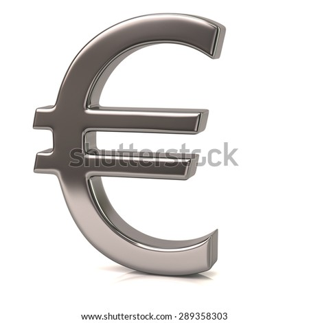 Silver Euro sign isolated on white background