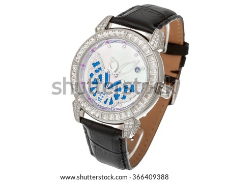 Silver Female watch with a leather thong and the dial from gold and jewels, the dial with a butterfly from diamonds. The isolated image on a white background, nobody. - stock photo