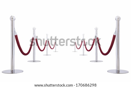 silver fence, stanchion with red barrier rope(with paths) - stock photo