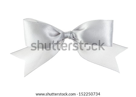 silver festive bow with tails made from ribbon, isolated on white - stock photo
