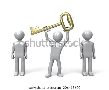 Silver figure holding up a gold key amongst a group of other figures. Concept for problem solving or success.  3D rendered on white background. - stock photo