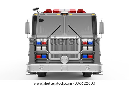 Silver Firetruck front view isolated on a white background. 3D Rendering, 3D Illustration