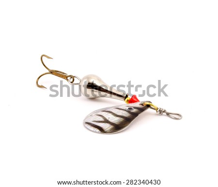 Silver fishing spoon with one lobes isolated on white background - stock photo
