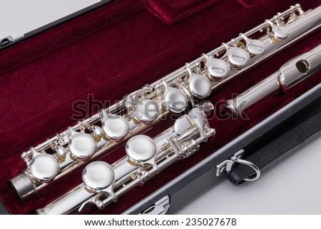 Silver flute - stock photo