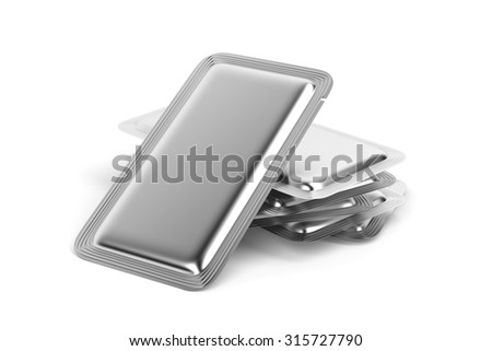 Silver foil sachets for for food, drinks, drugs, cosmetics and etc. - stock photo