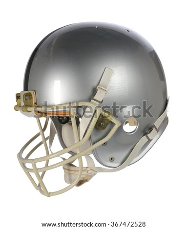 Silver football helmet isolated over white background - With clipping path