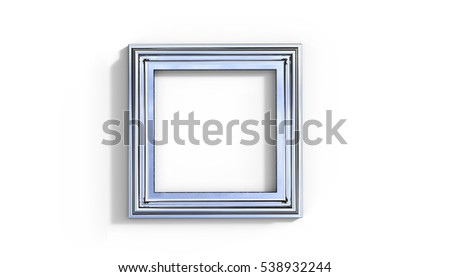 Silver Frame 3D Illustration on a white background