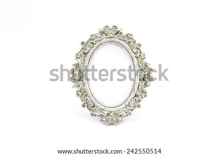 Silver frame oval antique - stock photo