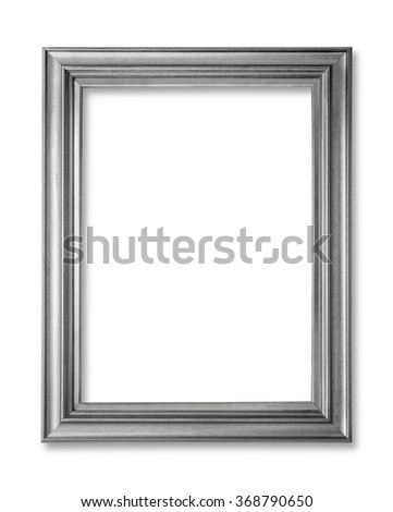 Silver frame. Silver arts and crafts pattern picture frame. Isolated on white - stock photo