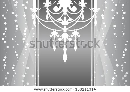 Silver frame with chandelier - stock photo