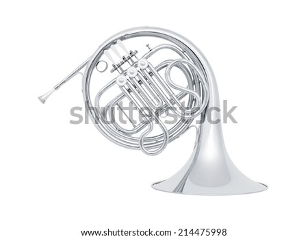 silver french horn in soft light isolated on white background - stock photo