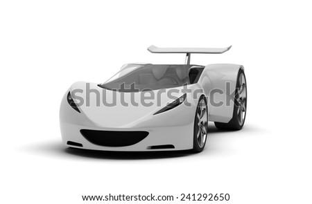 silver futuristic concept sport car, 3d render  - stock photo