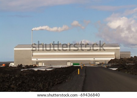 Silver geothermal power plant, Iceland - stock photo