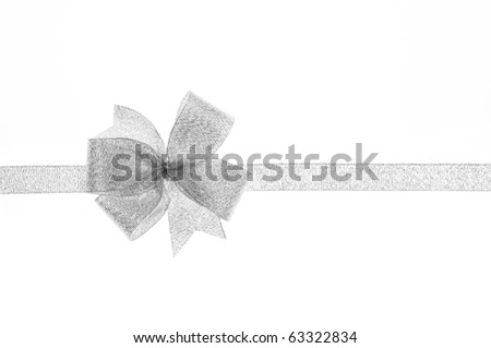 silver  gift bow on white background - stock photo