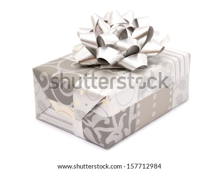 Silver gift box - stock photo