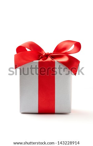 silver gift box on white background.  silver Gift box with red ribbon.