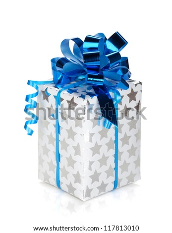 Silver gift box with blue ribbon. Isolated on white background - stock photo