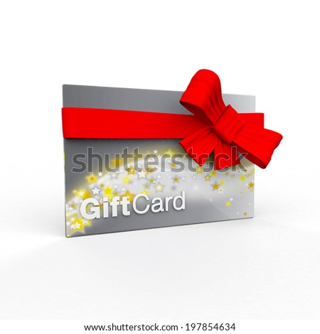 Silver gift card on a white background - stock photo