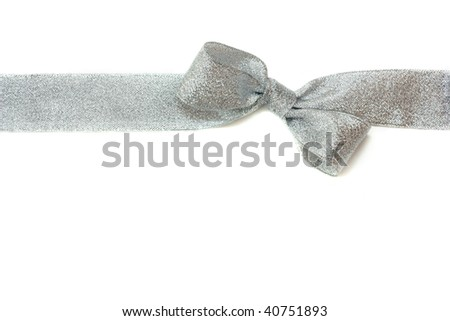 silver gift ribbon and bow isolated over white. some other you may also like - stock photo