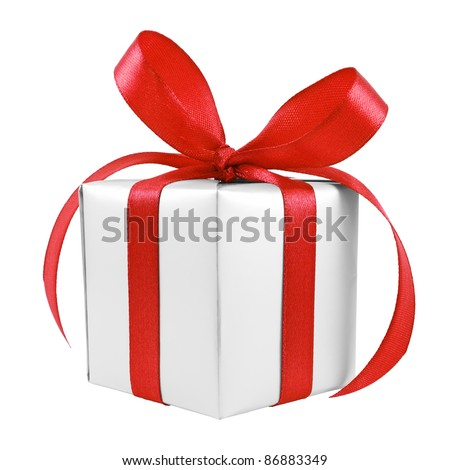 Silver gift wrapped present with red satin bow isolated on white