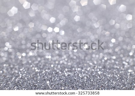 Silver glitter light texture christmas day background. - stock photo