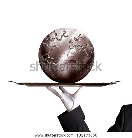 Silver globe - stock photo