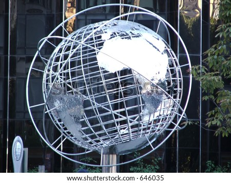 Silver Globe of Trump Tower - stock photo