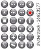 Silver Glossy Media Buttons - stock photo