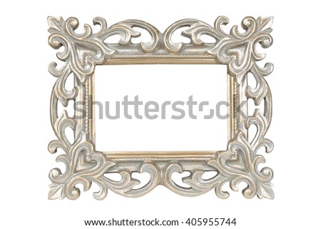 Silver gold carved picture frame isolated over white with clipping path. - stock photo