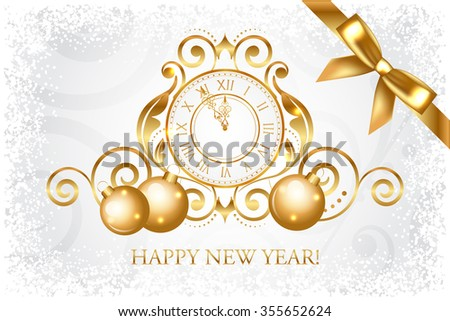 silver & gold Happy New Year card  - stock photo