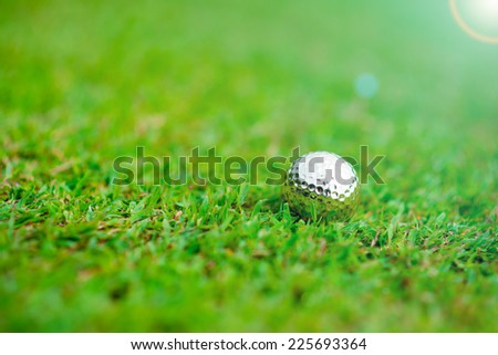 silver golf-ball on course for sporting clubs - stock photo