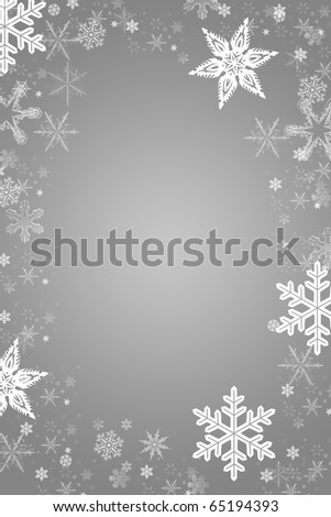silver gray and white christmas card with a snowflake frame xmas